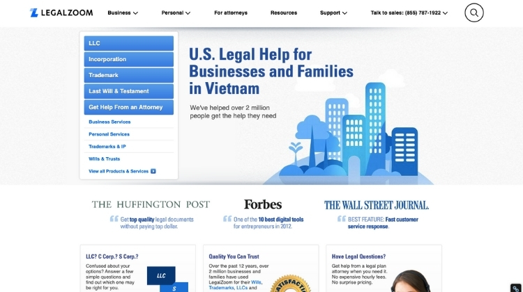 Access the LegalZoom website