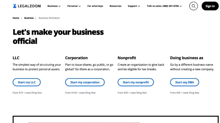 Select business entity
